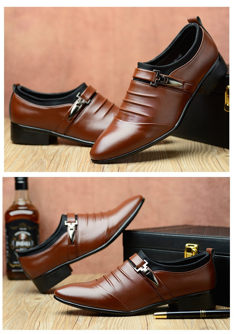 Men PU Leather Pointed Toe Flat Slip-on Business Wedding Oxfords Shoes