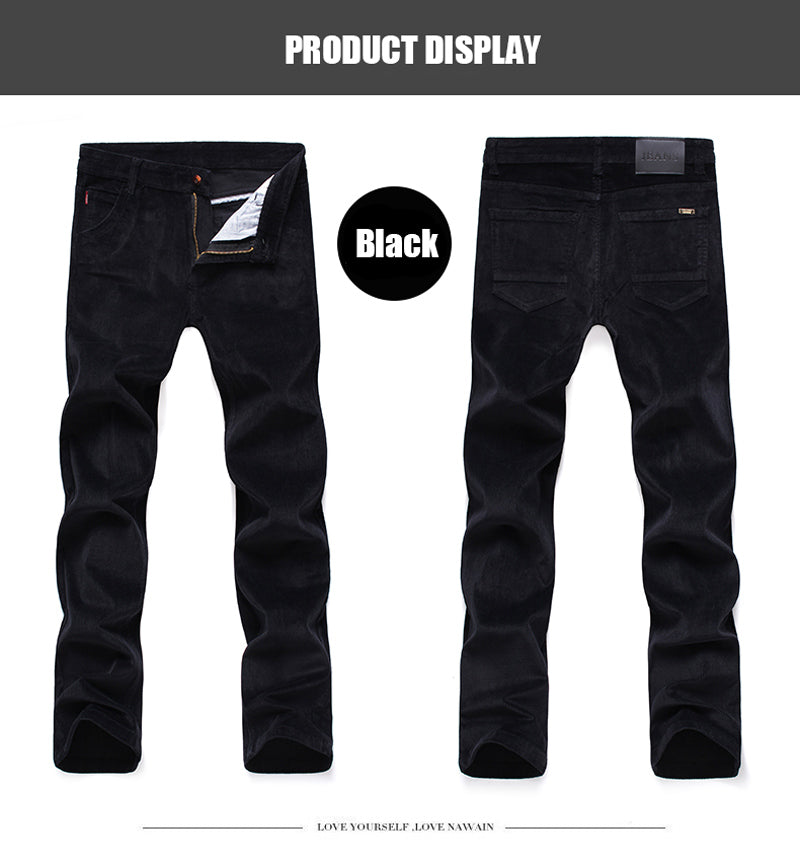 Winter Fashion Men Jeans Slim Fit Thick Warm Corduroy Pants Fleece Trousers  Casual Business Style Long Pants