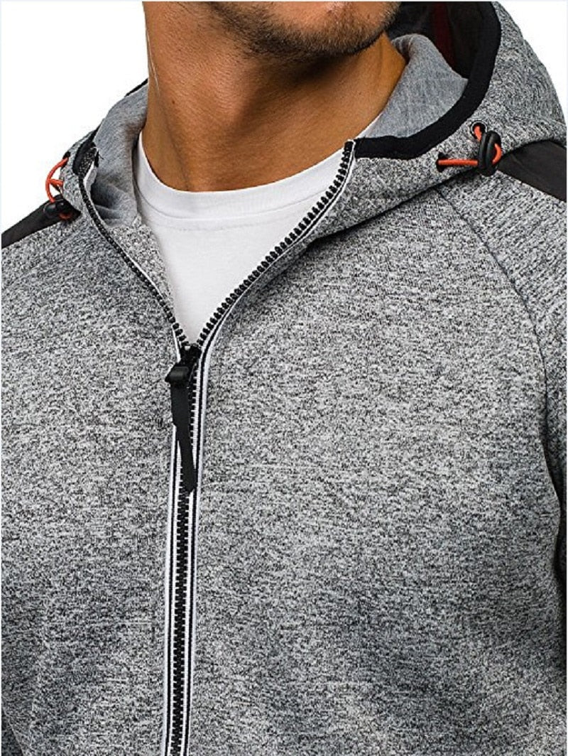 Mens plus size zipper Hoodies Long Sleeve Sportswear Tracksuit Hooded Sweatshirt casual jackets and coats