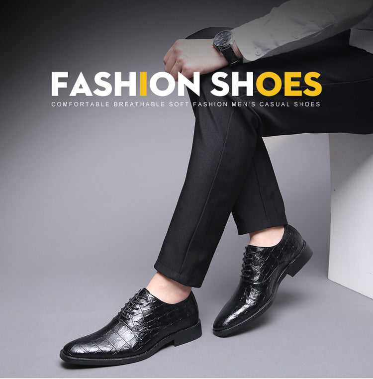 Men Elegant Italian Design Leather Formal Pointed Toe Crocodile Pattern Leather Wedding Dress Luxury Men Oxfords Shoes