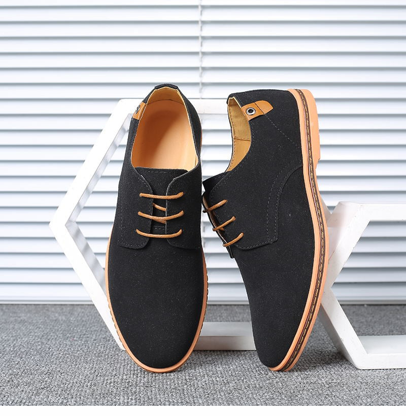 Big Size Suede Leather Men Shoes Oxford Casual Classic Shoes Comfortable Footwear
