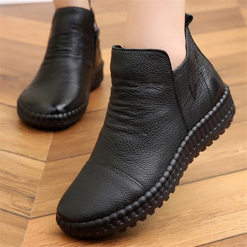 Women Genuine Leather Vintage Casual Shoes Handmade Flat  Ankle Boots