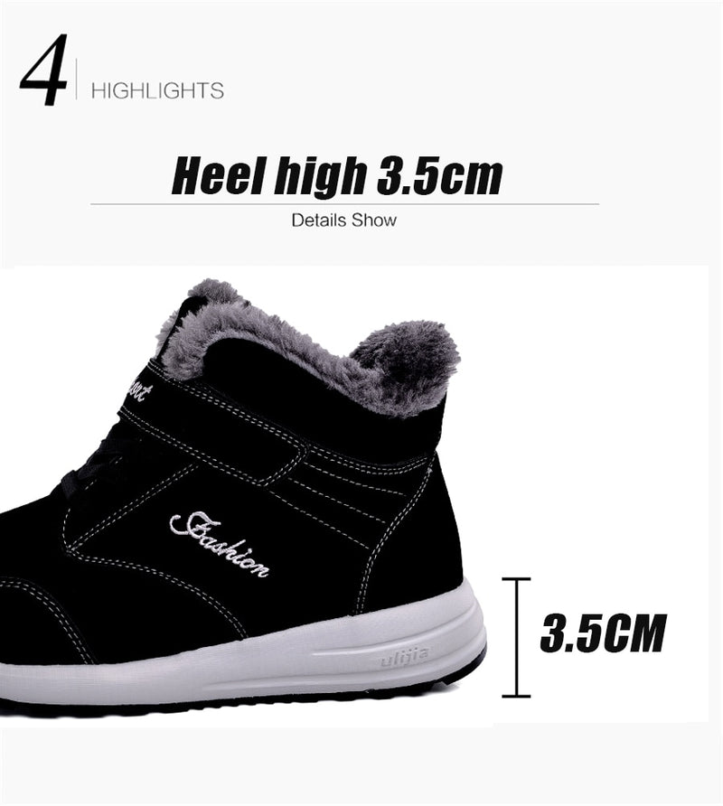 women boots leather suede women warm push ankle boots high waterproof Boots rubber hiking boots shoes