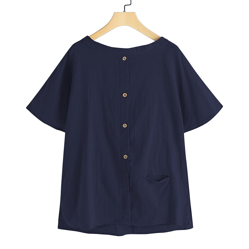 Oversized Vintage Cotton Tops Women Blouses Short Sleeve Buttons Casual Shirts Pockets Loose Tops