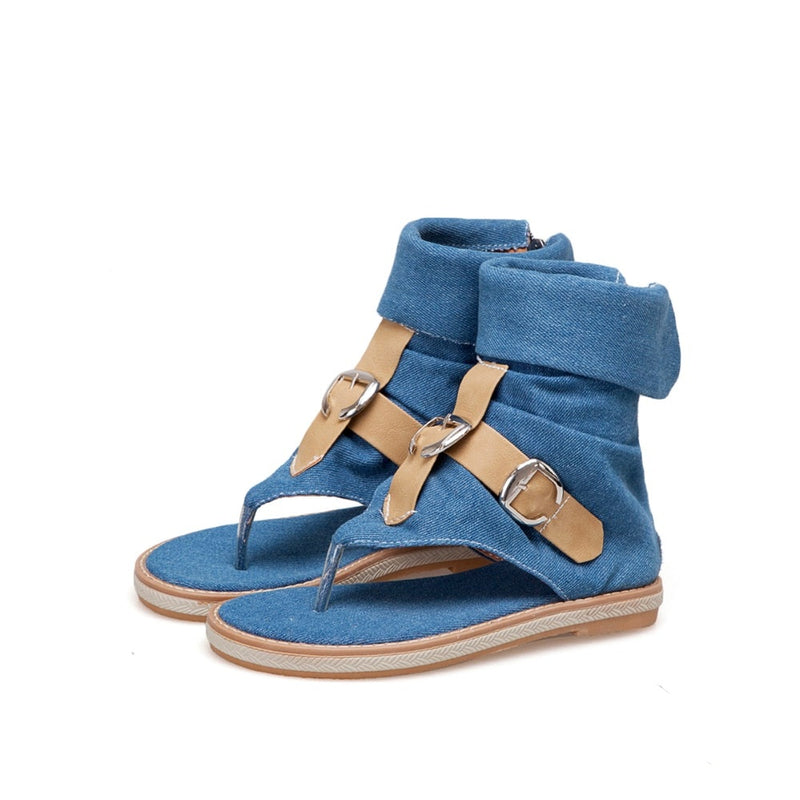 Fashion Ladies Denim Flat Sandals Summer Platform Sandals shoes