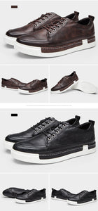Casual Shoes Men Fashion Vintage Shoes Brown Brand Male Shoes Genuine Leather Men's Leisure Shoes