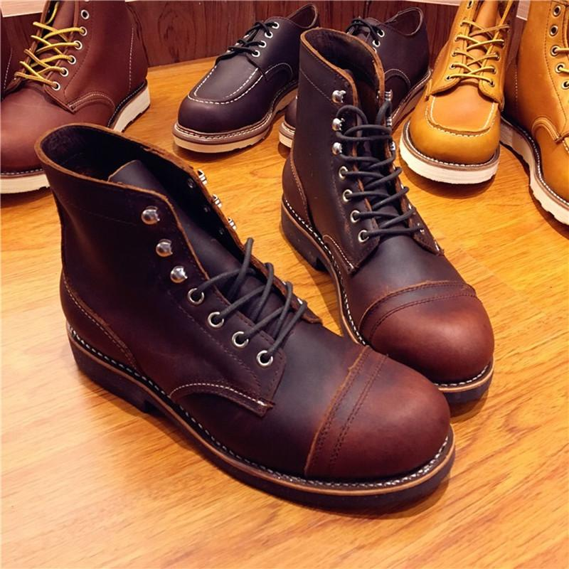 Genuine Leather Original Unisex Spring Winter Boots Men Wing Motorcycle Fashion Work Wedding Boots Wine Red Color