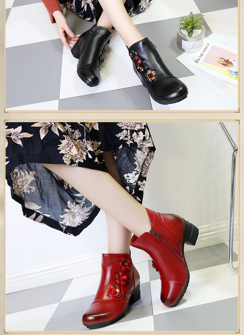 Cow Genuine Leather Winter Boots Soft Flower Comfortable Warm Spare Heel Ankle Boots