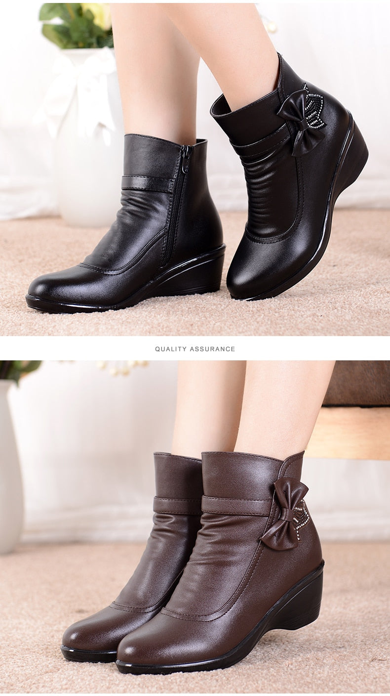 Women butterfly-knot shoes winter boots short plush fashion zip ankle boots