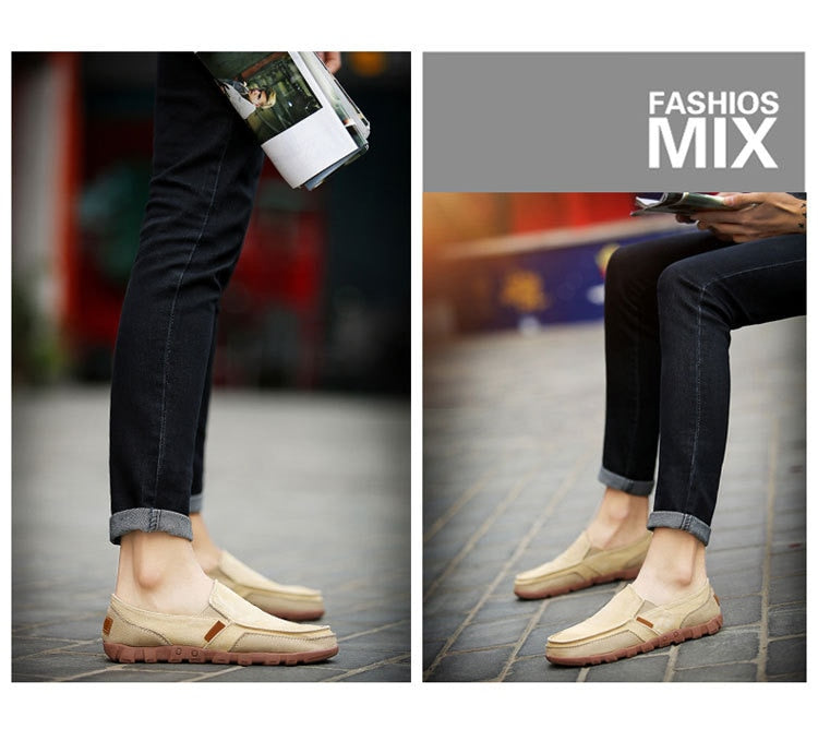 Men Casual Breathable Slip-On Loafers Flat Canvas Shoes