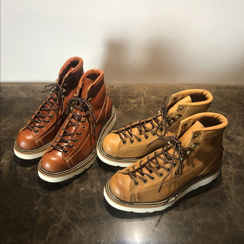Men Spring Winter Casual Round Toe Genuine Leather Work Boots Goodyear-Welted Vintage Military Motorcycle Boots