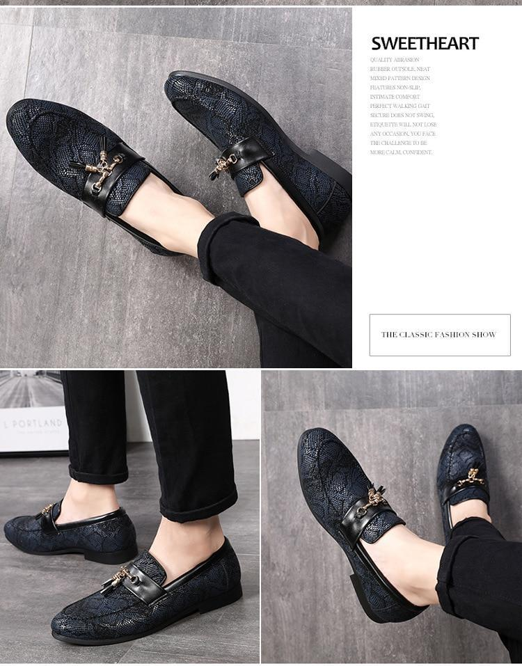 Men Dress Shoes Personality Tassel Snakeskin Pattern Doug Leather Formal Shoes