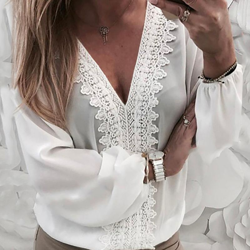 Women Long Lantern Sleeve V Neck Back Hollow Lace Shirt Office Ladies Casual Loose Blouses