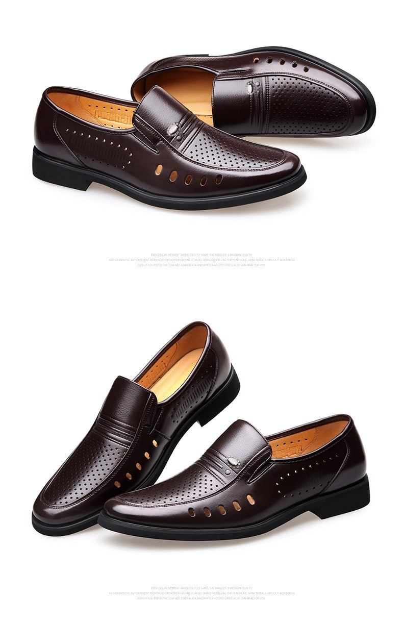 Men's Breathable Slip-On Hollow Leather Classic Business Wedding Shoes Flat Shoes