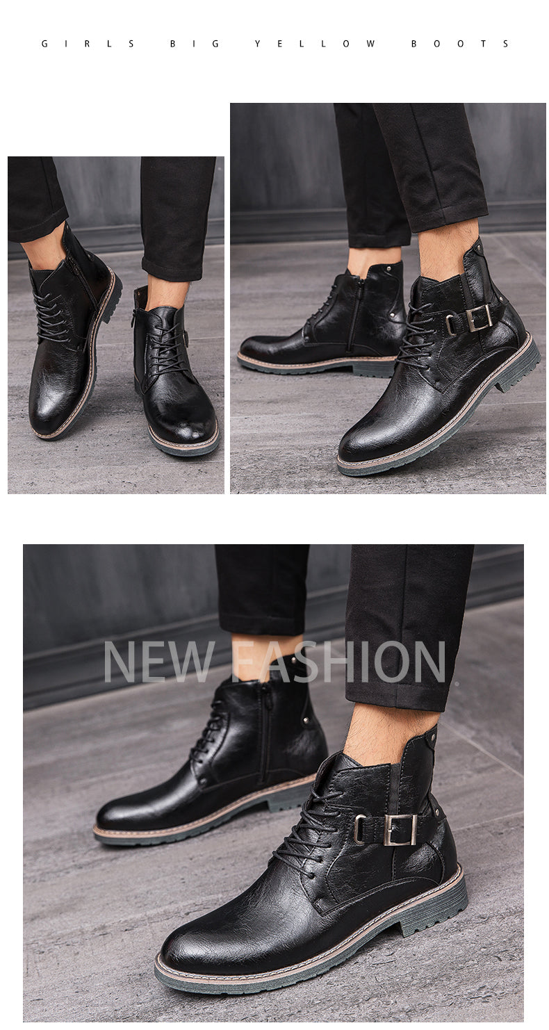 Men's Retro Ankle Dress Boot High Top Oxford Safety Shoe Man Russian Style Zipper Anti-Skidding Leather Tactical Boots