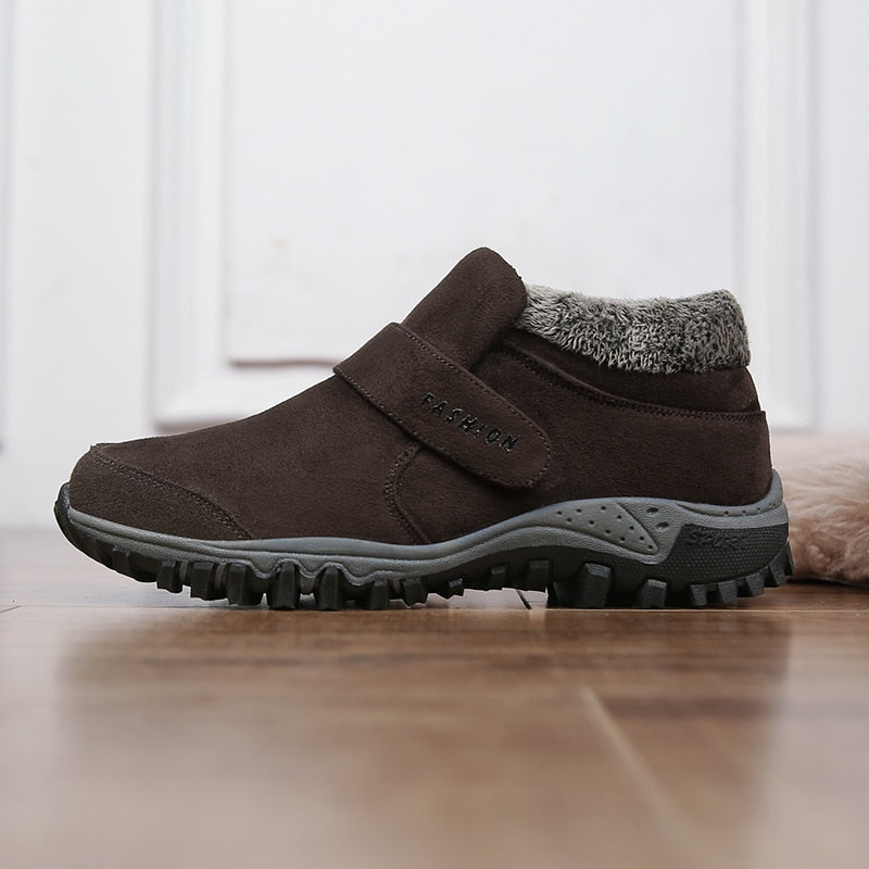 Men Suede Leather Winter Shoes Tennis Sneakers Winter Ankle Boots Warm Working Casual Ankle Boots