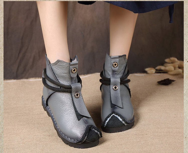 Women Genuine Leather High Quality Fashion Short Flats Ankle Boots