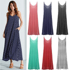 Women Summer  Deep V Sexy Large Swing Dress Loose Wave Multi-color Optional Strap Dress