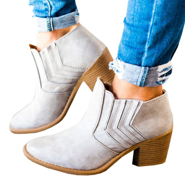 Women Ankle Boots Block High Heels Retro Leather Winter Shoes Woman Plus Size Booties Cowboy Boots
