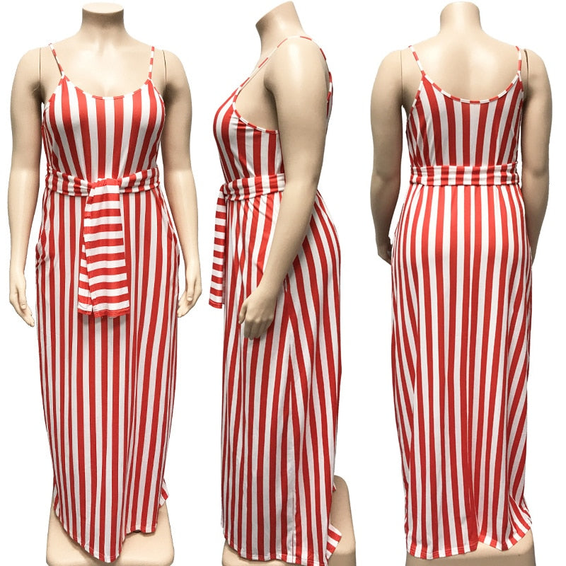 Women Plus Size Bandage With Belt Striped Spaghetti Strap Pocket Backless Loose Maxi Dress
