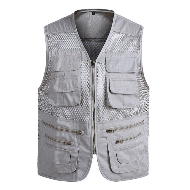 Men Multi-Pocket Classic Waistcoat Male Sleeveless Unloading Solid Coat Work Vest Tactical Masculino Jacket