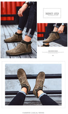 Winter Warm Men Snow Boots Cow Suede Man Ankle Boots Fur Men Shoes Plush Autumn Basic Drive Boots