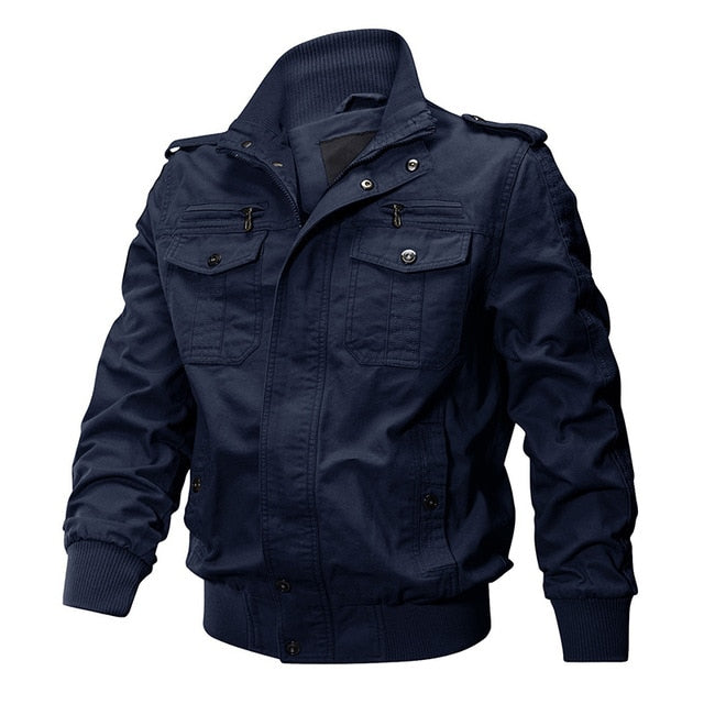 Men Military Jacket Cotton Bomber Jacket Coat Navy Pilot Jacket Air Force Casual Cargo Jacket