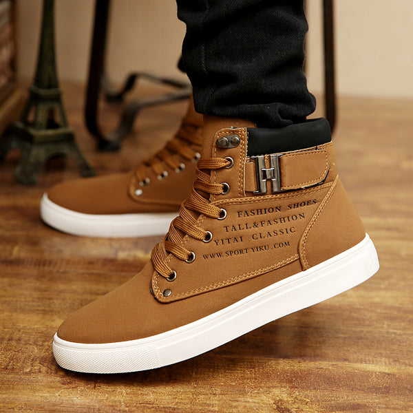 Men Boots Fashion Warm Winter Autumn Leather Footwear High Top Canvas Casual Shoes
