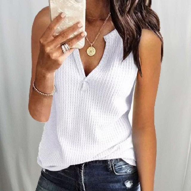 Women Sexy Deep V-neck Knitted Cold shoulder Solid Blouse Shirts Tops