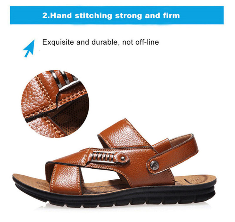 Men Genuine Leather Roman Sandals Male Casual Shoes Flip Flops Fashion Outdoor Slippers Shoes