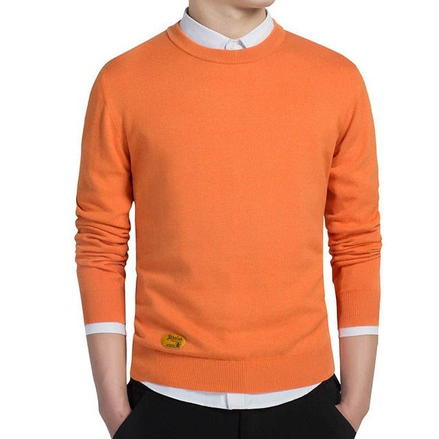 Men Cotton Pullovers O-neck Jumper Thin Solid Knitting Sweaters Top