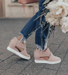 Women Solid High Flats wedges Heel Height Increasing Chunky Platform Vulcanized Sneakers Shoes