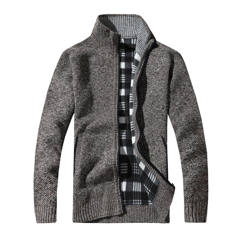 Men's Sweaters Autumn Winter Warm Thick Velvet Sweater Jackets Cardigan Coats Male Clothing Casual Knitwear