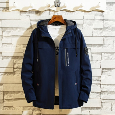 Jacket men hooded Korean fashion casual streetwear homme clothings ourterwear plus size jackets