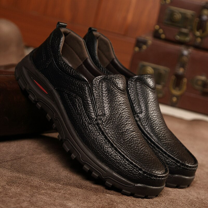 Men Footwear Thick Sole Mens Casual Shoes Male High Quality Cowhide
