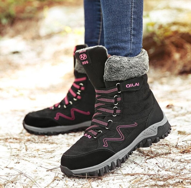 Women Boots Leather Winter Boots Shoes Woman Keep Warm Waterproof Snow Boots