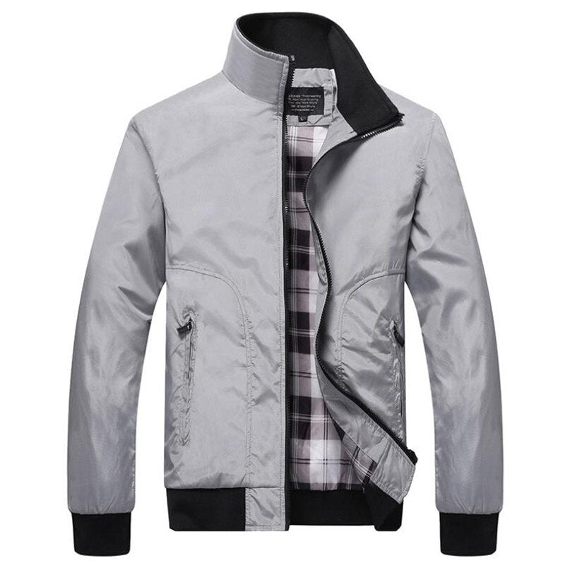 Men solid color casual coat flight baseball jacket
