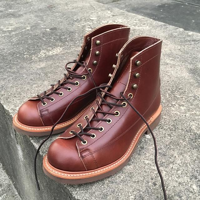 Vintage Cow Leather Men Shoes Goodyear Welted Dress Men Ankle Boots Work Motorcycle Boots