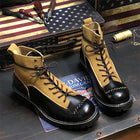 Retro American Motorcycle Riding Ankle Boots Men Work Safety Shoes Unisex British Style Cow Genuine Leather  Botas Hombre