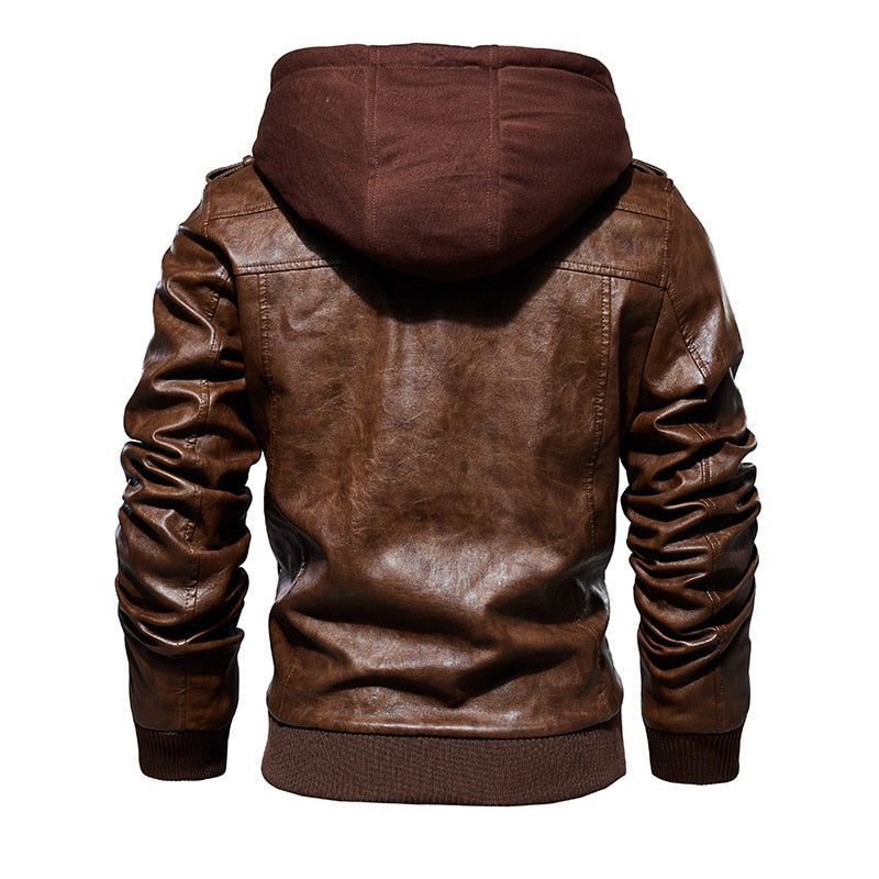 Men Motorcycle Leather Jackets Winter Fashion Casual Hooded Faux Jacket PU Leather Jackets Coats