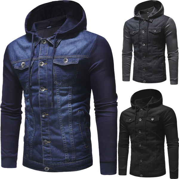 Men Jeans Hooded Autumn Denim Coat for Male High Quality Fashion Classic Patchwork Mens Clothes Streetwear Jackets