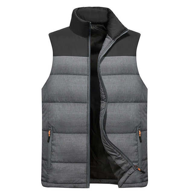 Men Down Vest Men's Warm Thick Coats Jacket and Coats Zipper Multiple pockets Casual Vests Sleeveless Jacket