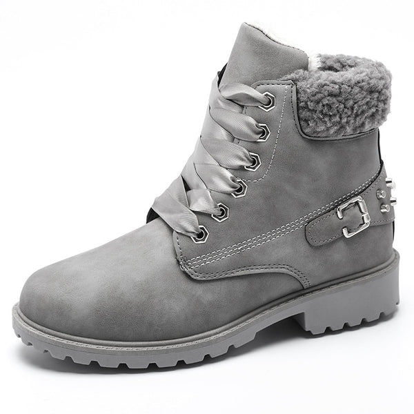 women winter boots Fashion Suede Women Snow Boots Metal rivet Warm Plush Women's Ankle Boots Flat shoes