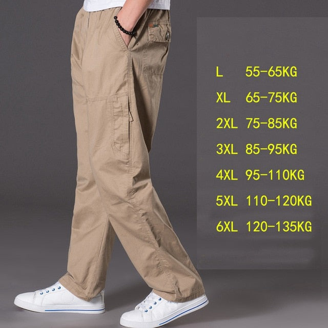 thin section casual pants men plus size multi-pocket men's trousers oversize pants