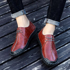 Men Casual Cow Leather Light Comfortable Split Leather Flats Shoes