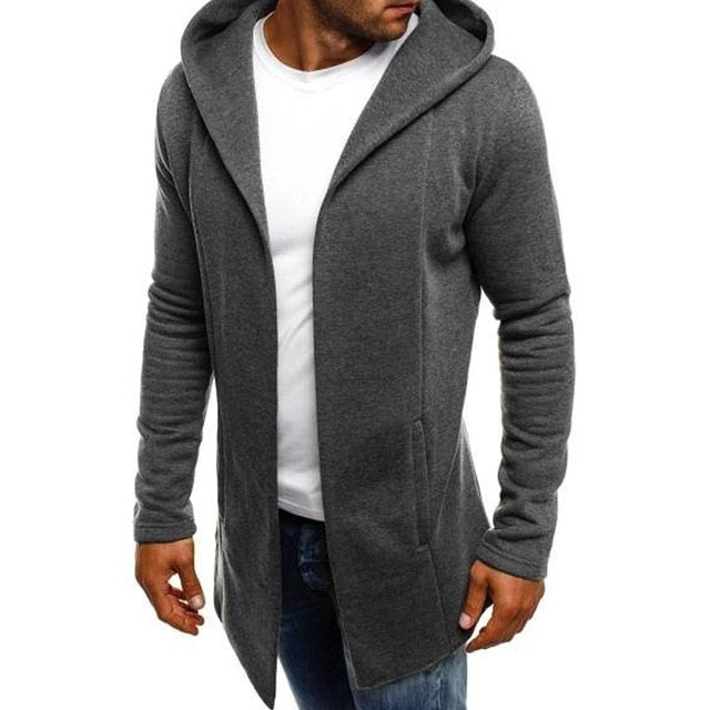 Men Hooded Solid Palto Trench Jacket Cardigan Long Sleeve Outwear Outwear Open Stitch Overcoat