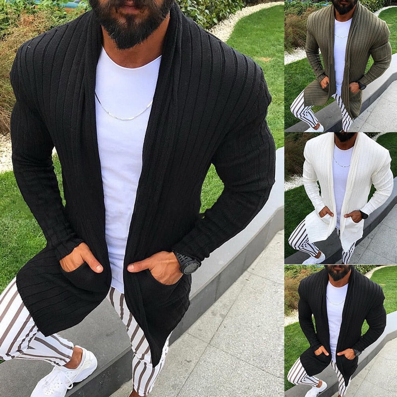 Men Clothes Open Stitch Casual Sweatercoat Tricot Cardigan Male Autumn Hoodies Knitted Overwear Hombre