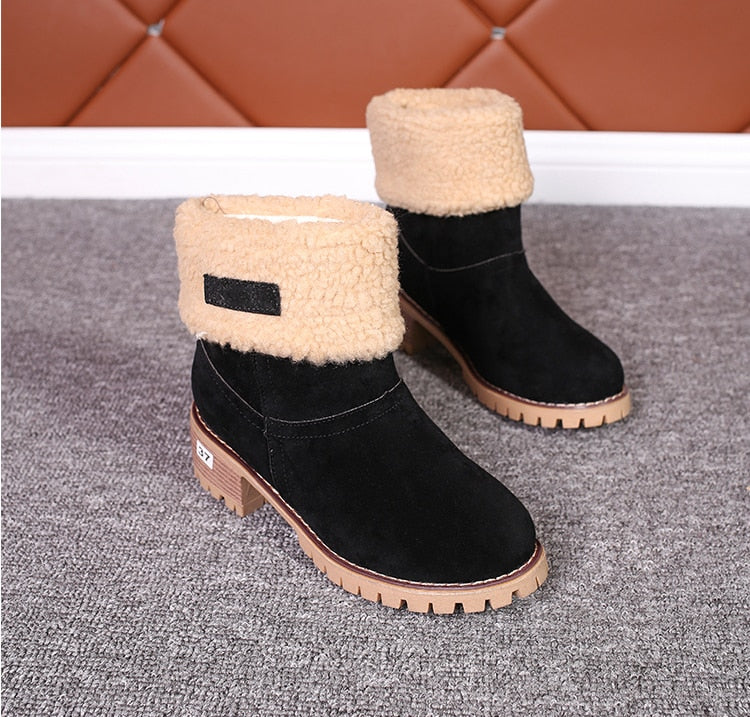 Winter Women Fashion Ankle Boots Flock High Heel Short Booties For Ladies Big Size Woman Botas Fur Warm Shoes