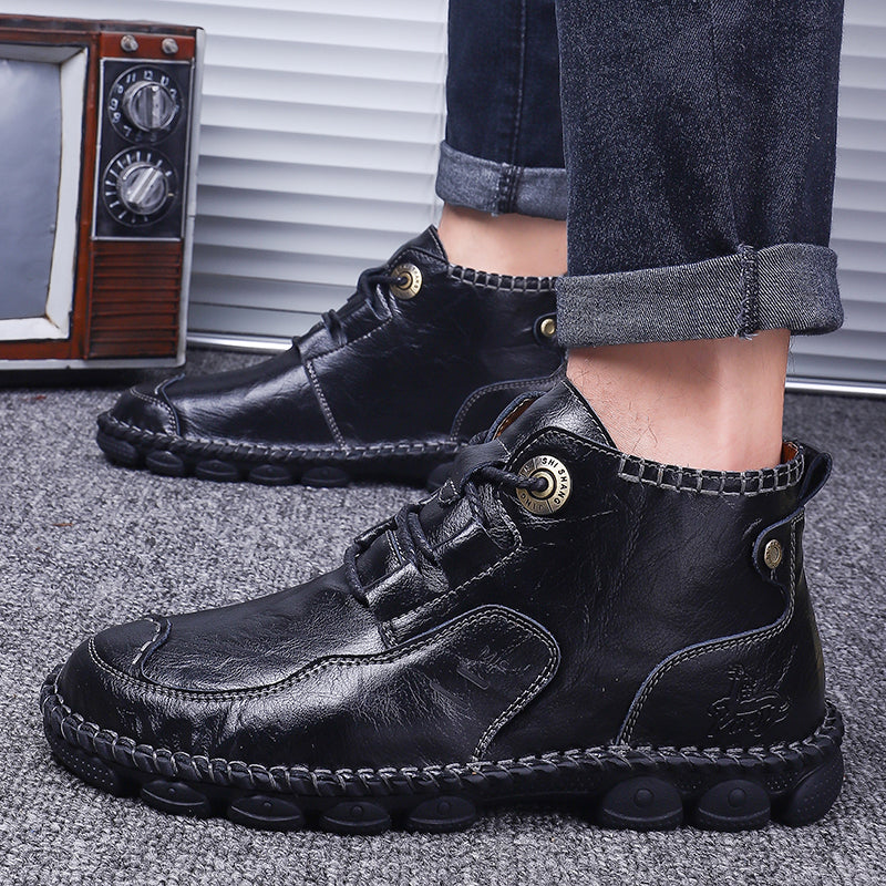 Men Work Boots Leather Man Ankle Boots Men's boots Autumn Men Shoes Casual Shoes Big Size