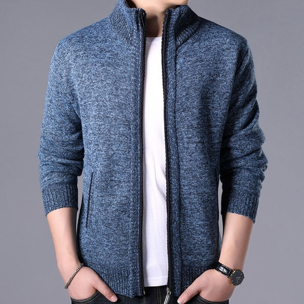 Sweaters Winter Mens clothes Solid Male Autumn Fashion Fit Thick Slim Keep Warm Men Solid Smart Casual Sweaters